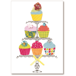 """Viabella Birthday Greeting Card With Envelope, Six Cupcakes, 5"""" x 7"""""""