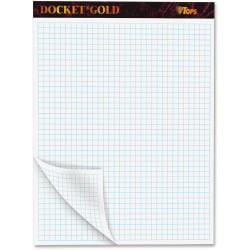 """TOPS Docket Gold Planner Pad - 80 Sheets - Both Side Ruling Surface - Quad Ruled - 4 Horizontal Squares - 4 Vertical Squares - 8 1/2"""" x 11 3/4"""" - White Paper - Black Cover - 1Pad"""