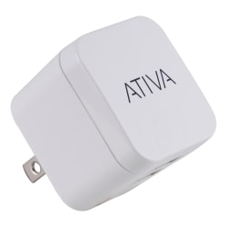Ativa® Dual-Port USB Wall Charger, White, 45861