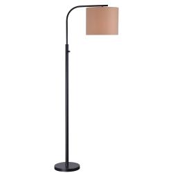 "Kenroy Home Bridgeton Arc Floor Lamp, 62-1/2""H, Tan Shade/Bronze Base"