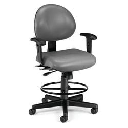 OFM 24-Hour Vinyl Computer Task Chair With Arms And Drafting Kit, Charcoal/Black