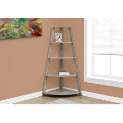 Monarch Specialties 4-Shelf Etagere Corner Bookcase, Dark Taupe