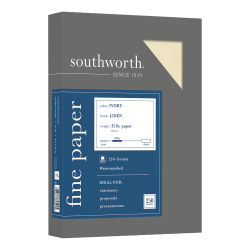 "Southworth® 25% Cotton Linen Business Paper, 8 1/2"" x 11"", 32 Lb, 55% Recycled, FSC® Certified, Ivory, Box Of 250"