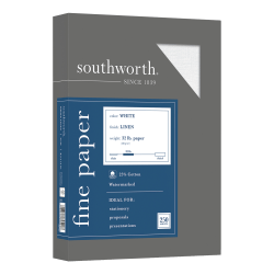 "Southworth® 25% Cotton Linen Business Paper, 8 1/2"" x 11"", 32 Lb, 55% Recycled, FSC® Certified, White, Box Of 250"
