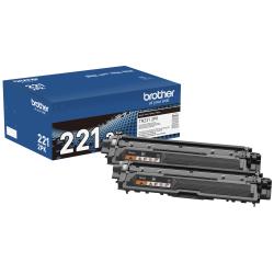 Brother TN221 Genuine Black Toner Cartridges, Pack Of 2 Cartridges