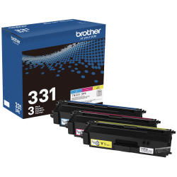 Brother TN331 Genuine Color Toner Cartridges, Pack Of 3 Cartridges