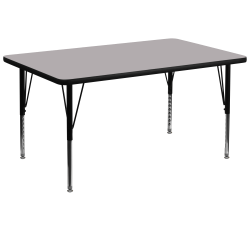 """Flash Furniture 72""""W Rectangular Thermal Laminate Activity Table With Short Height-Adjustable Legs, Gray"""