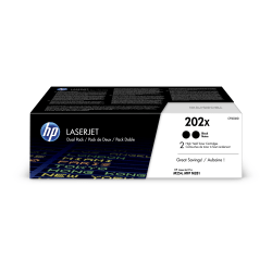 HP 202X High-Yield Black LaserJet Toner Cartridges, Pack Of 2 Toner Cartridges