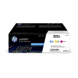 HP 202X High-Yield Cyan/Magenta/Yellow LaserJet Toner Cartridges, Pack Of 3 Toner Cartridges
