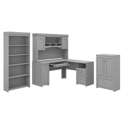 "Bush Furniture Fairview 60""W L-Shaped Desk With Hutch, Storage Cabinet With Drawer And 5-Shelf Bookcase, Cape Cod Gray, Standard Delivery"