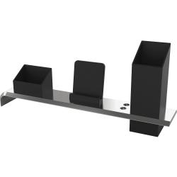 "Artistic Strategic Desktop Organizer - 4.3"" Height x 13.4"" Width3"" Length - Desktop - Black, Silver - Plastic - 1 Each"