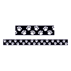 """Teacher Created Resources Border Trim, 3"""" x 35"""", Black With White Paw Prints, Pre-K - College, Pack Of 12"""