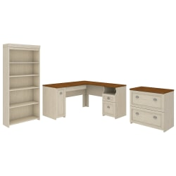 "Bush Furniture Fairview 60""W L-Shaped Desk With Lateral File Cabinet And 5-Shelf Bookcase, Antique White, Standard Delivery"