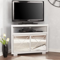 "Southern Enterprises Mirage Mirrored Corner TV Stand For 34"" Flat-Screen TVs, Matte Silver"