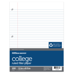 "Office Depot® Brand College-Ruled Notebook Filler Paper, 3-Hole Punched, 11"" x 8 1/2"", 100 Sheets"