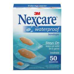 3M™ Nexcare™ Waterproof Bandages, Assorted Sizes, Box Of 50