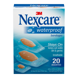 3M™ Nexcare™ Waterproof Bandages, Assorted Sizes, Box Of 20