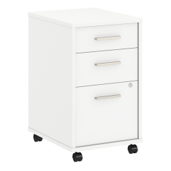 """kathy ireland® Office by Bush Business Furniture Method 19-3/4""""D Vertical 3-Drawer Mobile File Cabinet, White, Standard Delivery"""
