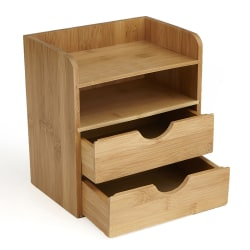 Mind Reader 4-Tier Bamboo Desk Organizer With 2 Drawers, Brown