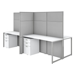 "Bush Business Furniture Easy Office 60""W 4-Person Cubicle Desk With File Cabinets And 66""H Panels, Pure White/Silver Gray, Standard Delivery"