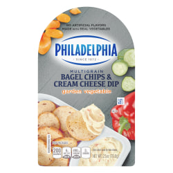 Philadelphia Multigrain Bagel Chips And Garden Vegetable Cream Cheese Trays, 2.5 Oz, Pack Of 5 Trays