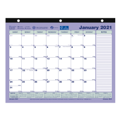 """Brownline® Classic Monthly Desk Pad Calendar, 11"""" x 8-1/2"""", January to December 2021, C181721"""