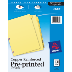 Avery® 30% Recycled Preprinted Laminated Copper-Reinforced Tab Dividers, 1-31