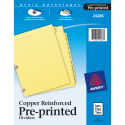 Avery® 30% Recycled Preprinted Laminated Copper-Reinforced Tab Dividers, Jan.-Dec.
