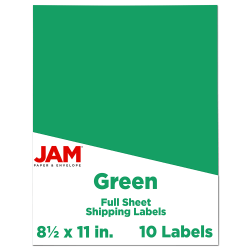 """JAM Paper® Full-Page Mailing And Shipping Labels, 337628607, 8 1/2"""" x 11"""", Lime Green, Pack Of 10"""