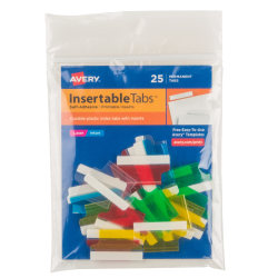 """Avery® Self-Adhesive Index Tabs With Printable Inserts, 1"""", Assorted, Pack Of 25"""