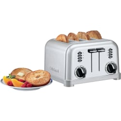 Cuisinart Metal Classic CPT-180W Toaster - Toast, Bagel, Reheat, Browning - White, Brushed Stainless Steel, Chrome, Black