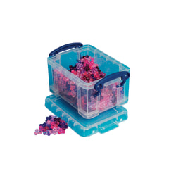 """Really Useful Box® Plastic Storage Container With Built-In Handles And Snap Lid, 0.3 Liter, 4 3/4"""" x 3 1/4"""" x 2 1/2"""", Blue"""