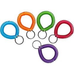 MMF Wrist Coil Key Rings - Plastic - 10 / Box - Assorted