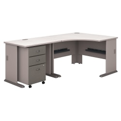 "Bush Business Furniture Office Advantage 48""W Corner Desk With 36""W Return And Mobile File Cabinet, Pewter/White Spectrum, Standard Delivery"