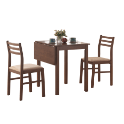 Monarch Specialties Emily Dining Table With 2 Chairs, Walnut