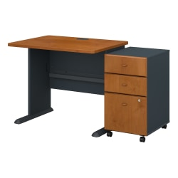 "Bush Business Furniture Office Advantage 36""W Desk With Mobile File Cabinet, Natural Cherry/Slate, Standard Delivery"