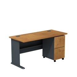 "Bush Business Furniture Office Advantage 60""W Desk With 2-Drawer Mobile Pedestal, Natural Cherry/Slate, Standard Delivery"