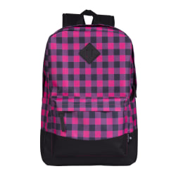 """Volkano Daily Grind Backpack With 18.1"""" Laptop Pocket, Pink Plaid"""