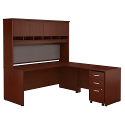 """Bush Business Furniture Components 72""""W L-Shaped Desk With Hutch And Mobile File Cabinet, Mahogany, Standard Delivery"""