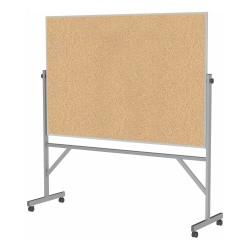 "Ghent Reversible Natural Cork Bulletin Board, 78 1/4"" x 77"" , Silver Aluminum Frame"