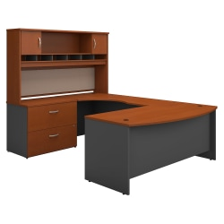 """Bush Business Furniture Components 72""""W Left-Handed Bow-Front U-Shaped Desk With Hutch And Storage, Auburn Maple/Graphite Gray, Standard Delivery"""