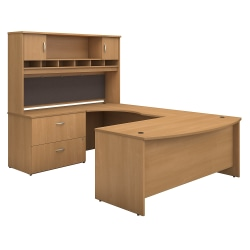 """Bush Business Furniture Components 72""""W Left-Handed Bow-Front U-Shaped Desk With Hutch And Storage, Light Oak, Standard Delivery"""
