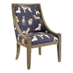 Linon Romilly Dog Accent Chair, Rustic Brown/Navy