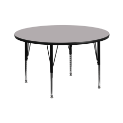 """Flash Furniture 42"""" Round Thermal Laminate Activity Table With Short Height-Adjustable Legs, Gray"""