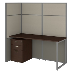 "Bush Business Furniture Easy Office 60""W Cubicle Desk With File Cabinet And 66""H Open Panels Workstation, Mocha Cherry, Premium Installation"