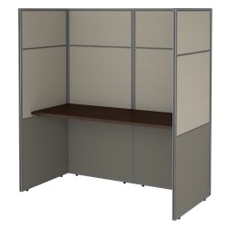 "Bush Business Furniture Easy Office 60""W Cubicle Desk Workstation With 66""H Closed Panels, Mocha Cherry, Premium Installation"