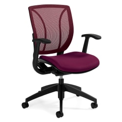"Global® Roma Fabric Posture Task Chair With Mesh Back, 38""H x 25 1/2""W x 23 1/2""D, Fall Burgundy"