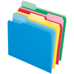 Pendaflex® 2-Tone Color CutLess® WaterShed® Folders, 1/3 Cut, Letter Size, Assorted Colors, Pack Of 100