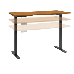 """Bush Business Furniture Move 60 Series 72""""W x 30""""D Height Adjustable Standing Desk, Natural Cherry/Black Base, Standard Delivery"""