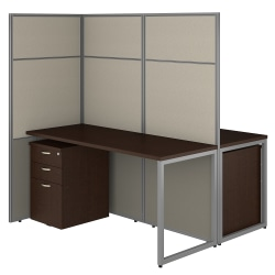 "Bush Business Furniture Easy Office 60""W 2-Person Cubicle Desk With File Cabinets And 66""H Panels, Mocha Cherry, Premium Installation"